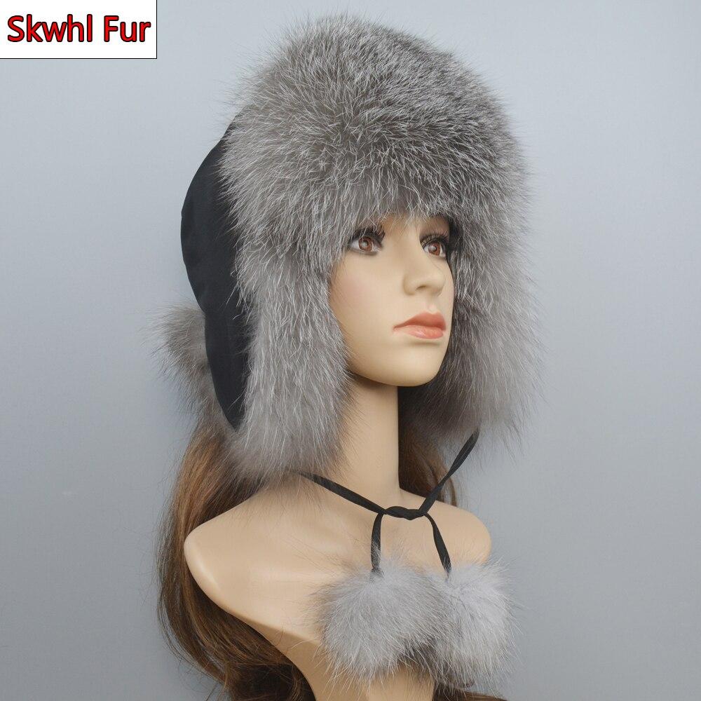 2021 Hot Sale Women Natural Fox Fur Russian Ushanka Hats Winter Thick Warm Ears Fashion Bomber Hat Lady Genuine Real Fox Fur Cap