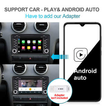 Isudar PX6 2 Din Android 10 Car Multimedia Player GPS DVD For Audi A3 8P/A3 8P1 3-door Hatchback/S3 8P/RS3 Sportback Auto Radio