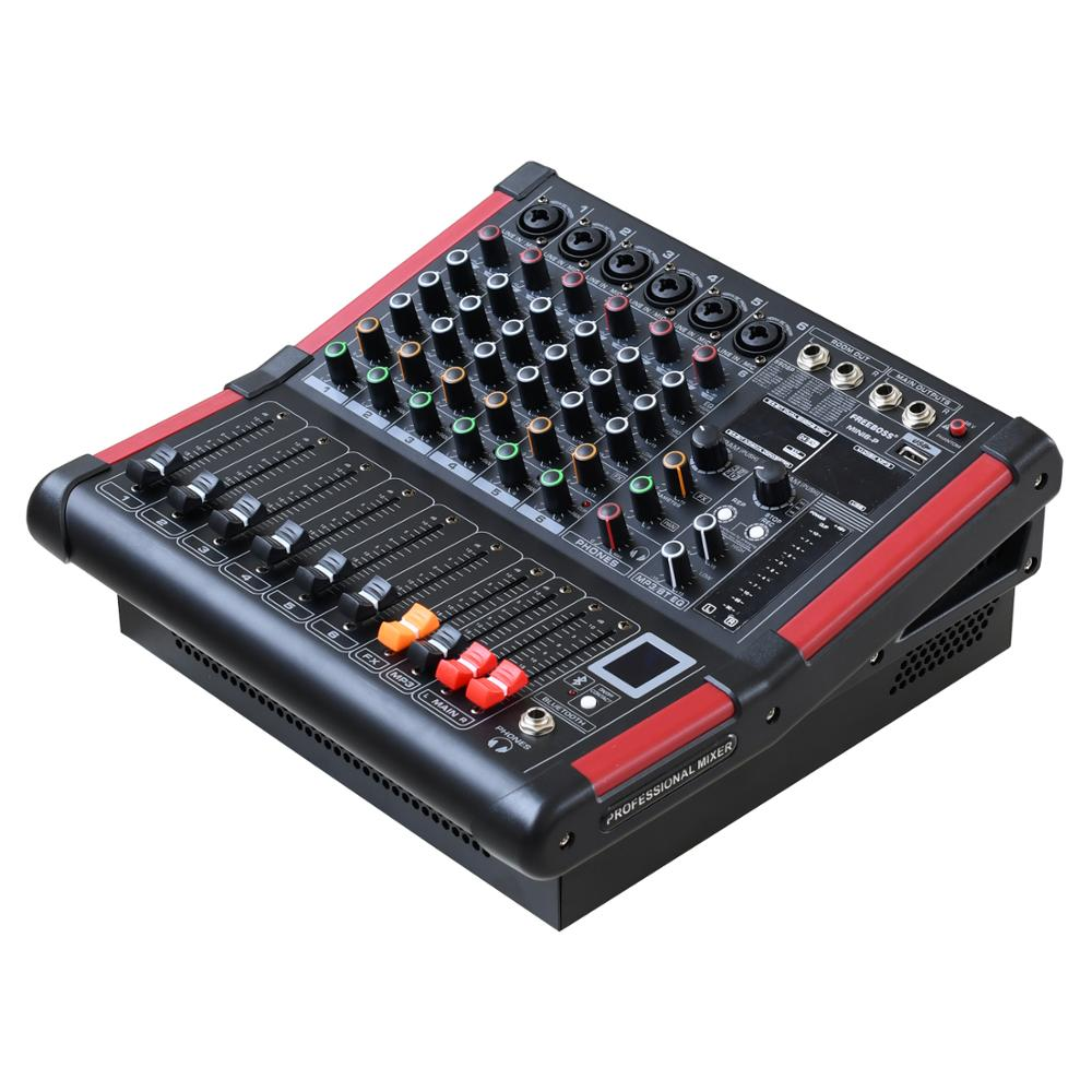 Freeboss MINI6-P 6 Kanäle Power Mischpult Verstärker Bluetooth Rekord 99 DSP wirkung 2x170W Professional USB Audio mixer