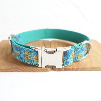 Personalized Unique Pretty dog collars and leashes set 5 sizes Handmade soft pet accessory THE LEAF UDC066 image
