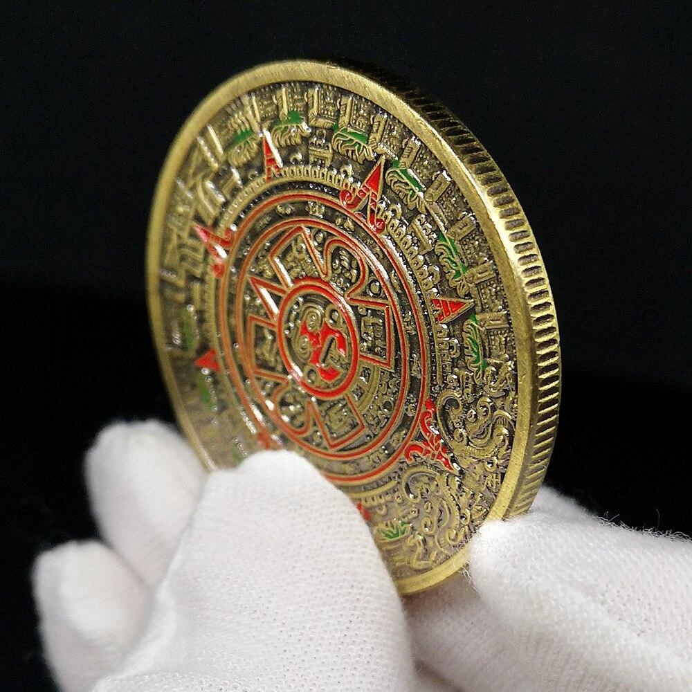 Mayan commemorative coin pyramid coin American coin Mexico Aztec gold and silver foreign non-monetary coin