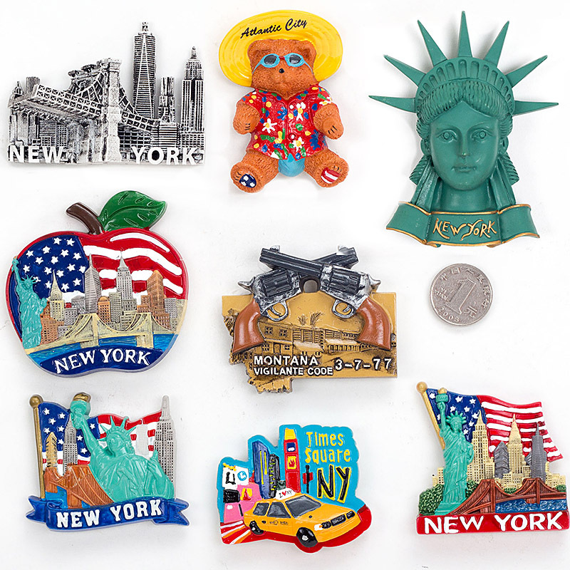 Handmade Painted NEW YORK 3D Resin Fridge Magnet Refrigerator Tourism Souvenir Collectibles Gift image