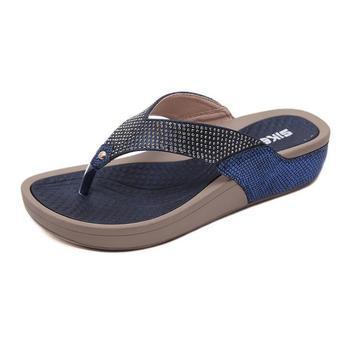 summer Women fashion casual crystal flat shoes summer anti-slip flip flops women's beach sandals female new design slippers
