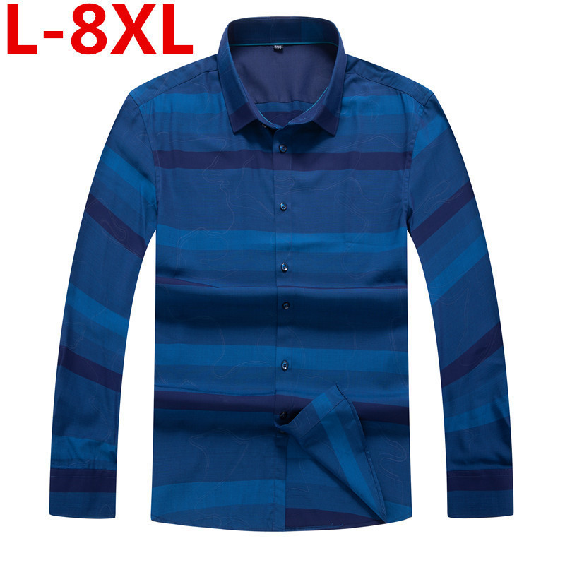 Plus Size 8XL Men's Shirt 2020 Spring Men Casual Long Sleeve Shirt Korean Slim Shirt Business Brand Dress Shirt Camisa Masculina