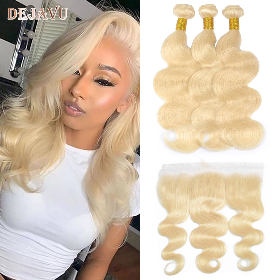 613 Ombre Blonde Bundles With Frontal Ear To Ear Brazilian Body Remy Human Hair 13*4 Lace Frontal Closure With Bundles