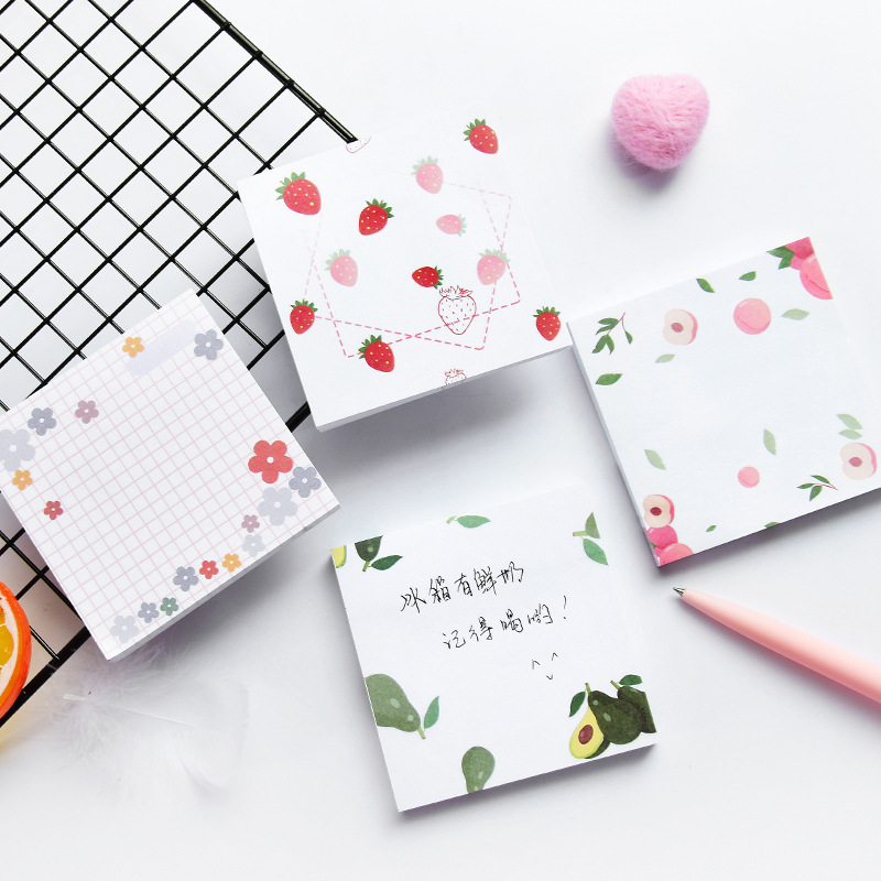 80 Pages Korean Kawaii Memo Pads Avocado Strawberry Cute Sticky Notes Creative DIY Notepad Office School Stationery Supplies