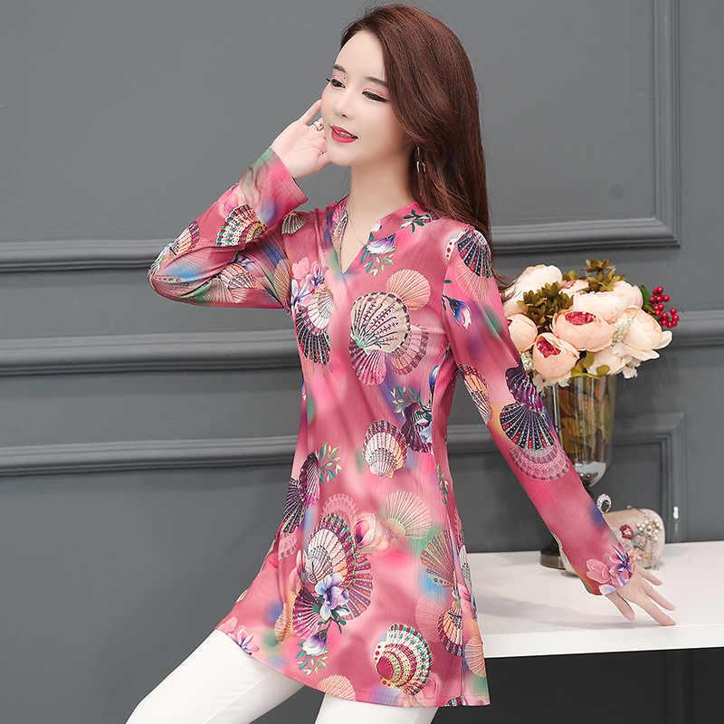 Plus Size 5XL Boho Stijl Vrouwen Chiffon Lange Mouwen Office Dames Werk Bloemen Gedrukt Blouses Losse Ademend L Shirt