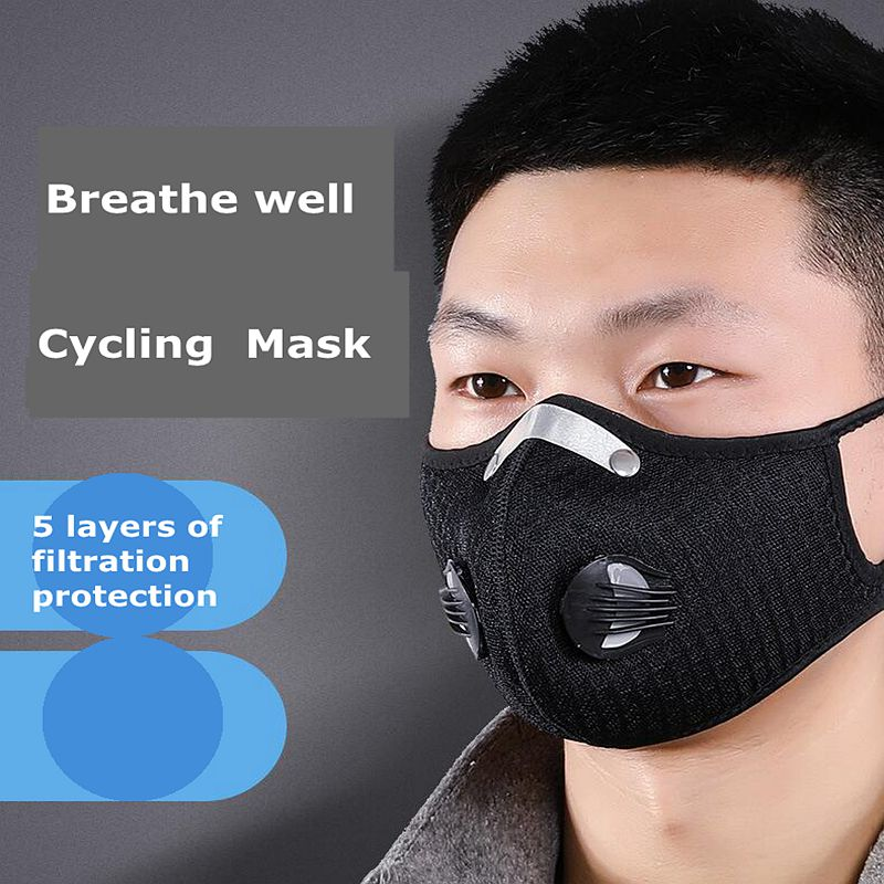 10Pcs Cycling Face Mask Activated Carbon Dustproof Windproof Anti-fog Mask With Gas Filter Sports Outdoor Protective Filter 0.3