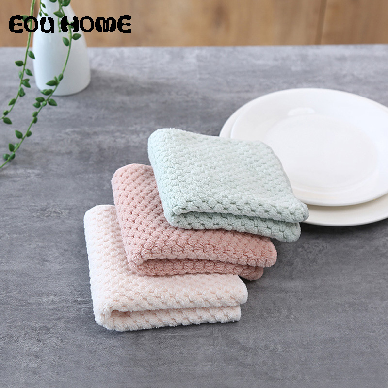 4pce/set Kitchen Coral Fleece Cleaning Cloths Thicken Double Dish Towel Coral Velvet Super Absorbent Lint-free Cloth Dishcloths Novel (In) Design;