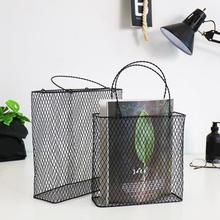 New Fashion Storage Basket Portable Home Decorated Wall Hanging Rack Net Iron Desk Holder for Magazine Newspaper