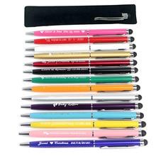 50pc חקוק מיני מתכת Stylus עט כדורי עטים מגע מסך עט אישית חתונה לטובת Customalized קידום מכירות מתנות