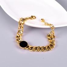 Amaiyllis 18K Gold Vinyl Round Button Polished Gold Bracelet Light Luxury Rough Bracelet For Women Summer Jewellry Gift недорого