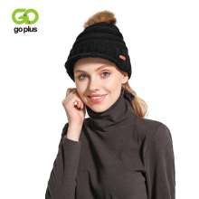 GOPLUS 2019 Winter Fur Pompom Knitted Visor Womens Hat Thick Warm Caps Women Unisex Mens Beanie Bonnet Sombrero Mujer