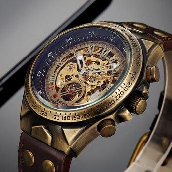 New Automatic Mechanical Watches Men Leather Strap Retro Skeleton Steampunk Wristwatch Self wind Top brand Relogio Masculino цена 2017