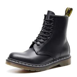 Botas masculinas de couro genuíno botas de tornozelo para martin botas de motociclo sapatos de inverno dos homens calçados de inverno mais tamanho 46 47