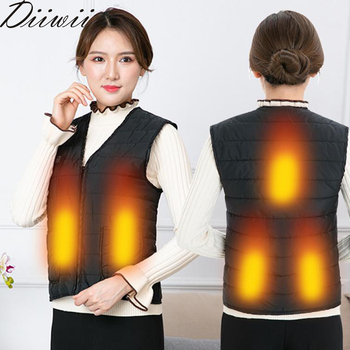 Diiwii Women Autumn and winter Cotton Vest USB Infrared Electric Heating Outdoor Flexible Thermal Winter Warm Jacket