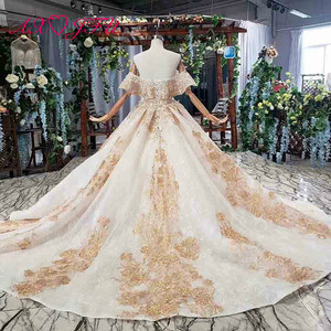 Image 2 - Axjfu 高級王女ビーズクリスタル黄金の花のレースのウェディングドレスヴィンテージボートネック花嫁フリルローズのウェディングドレス 2408