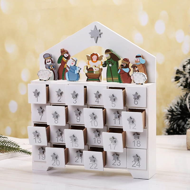 Wooden Advent Calendar Countdown Christmas Party Decoration 24 Drawers Ornament A9LB