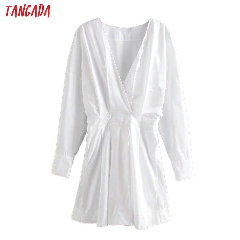 Tangada 2020 Fashion Women Solid White Dress V Neck Long Sleeve Tunic Ladies Work Short Dress Vestidos 4Q37