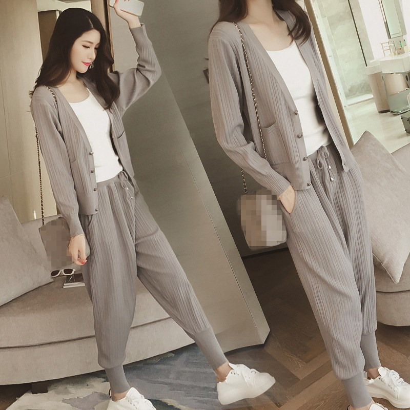 Knitted Casual Tracksuit Pant Suits 2018 Fashion 2 Piece Set Women Sweater And Trousers Set Pants Set 59
