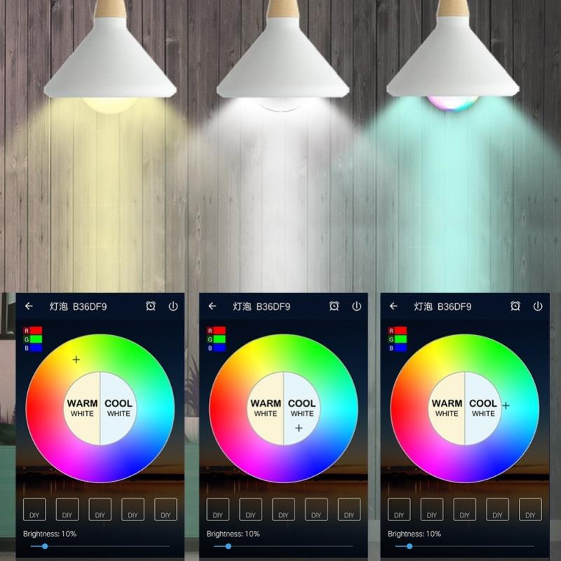 LED Lamp LED Bulb Smart Light Bulb Durable Super Bright RGBCW WIFI Control 7W Bedroom Wake-Up Lights Bar Party Wireless