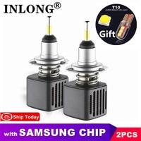 Com a microplaqueta de samsung 2 pces d1s h7 lâmpadas led h11 lâmpada led h4 9005 9006 d2s d4s d3s 5500k 6500k carro auto farol luzes de nevoeiro