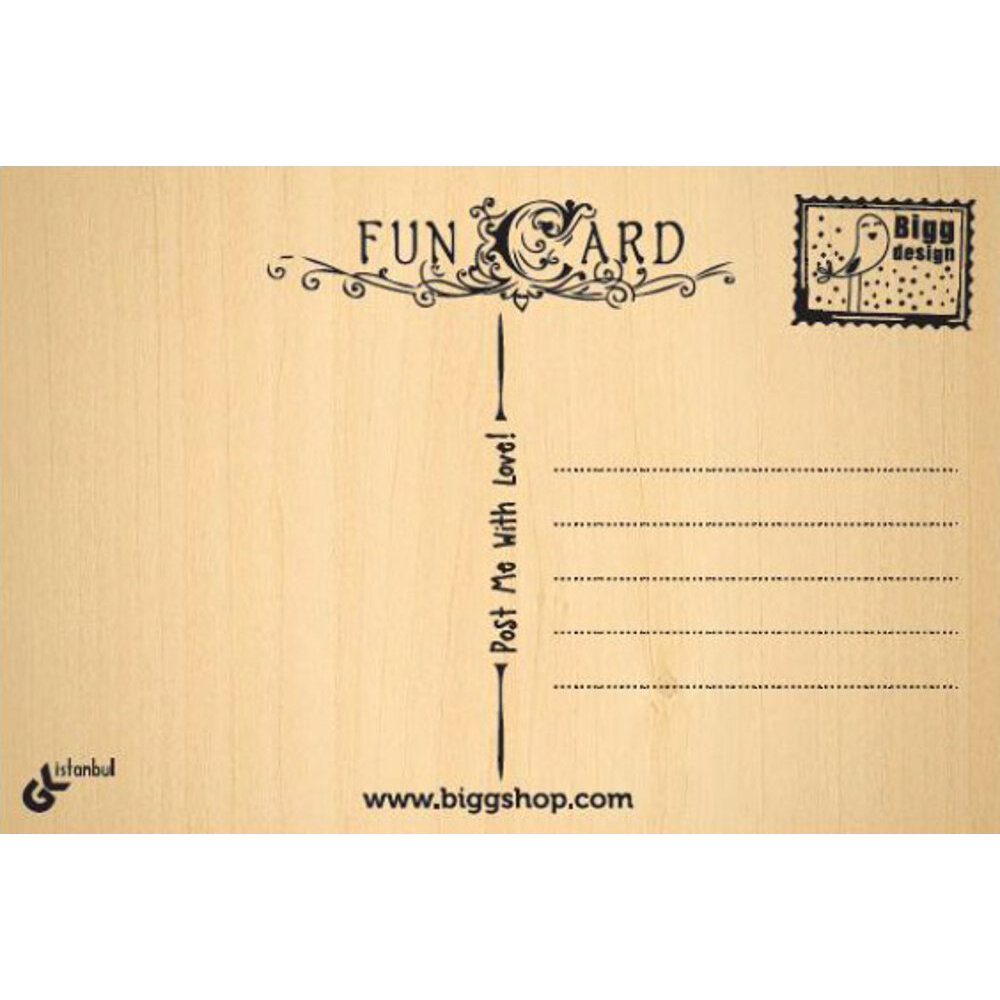Biggdesign Wooden Postcard, Can Be With Written All Pen Types, 10x15 Cm, Digital Printing, Greeting Card, Wood Postcard