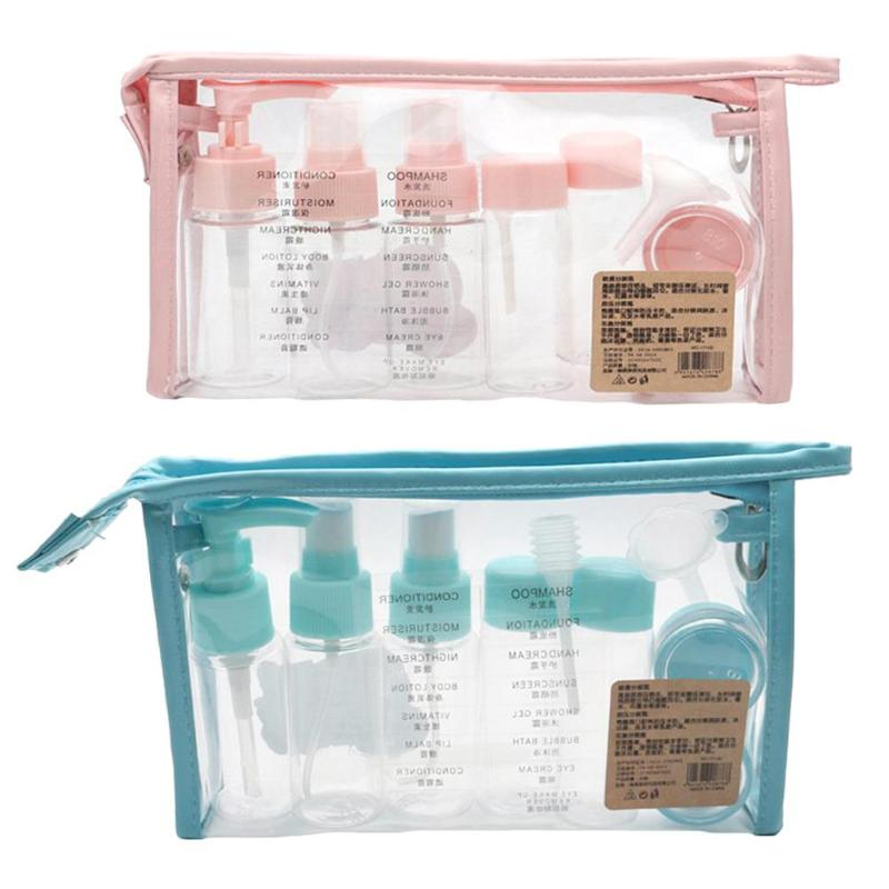 10pcs Portable Travel Cosmetic Spray Empty Bottle Container Perfume Pressed Mist Water Suit Bottle Set Tools