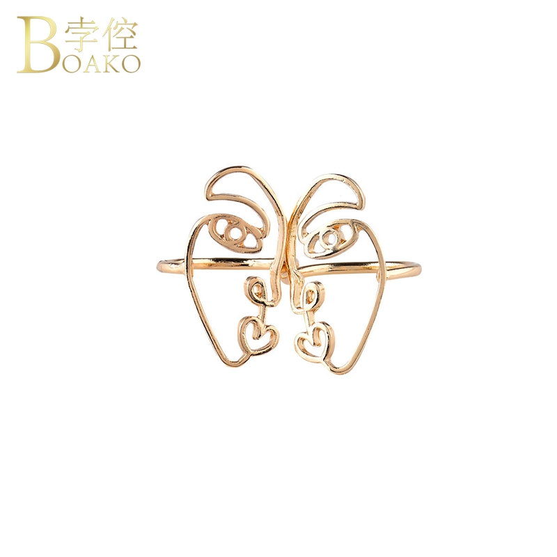 BOAKO Abstract Face Earrings Gold Human Smiley Face Earring For Women Vintage Hollow Minimalist Half Face Earring Girl aretes Z5 in Drop Earrings from Jewelry Accessories