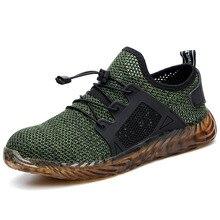 HEFLASHOR/сетчатая Вулканизированная обувь; мужские и женские ботинки со стальным носком; воздухопроницаемые рабочие кроссовки; дышащая Спортивная обувь