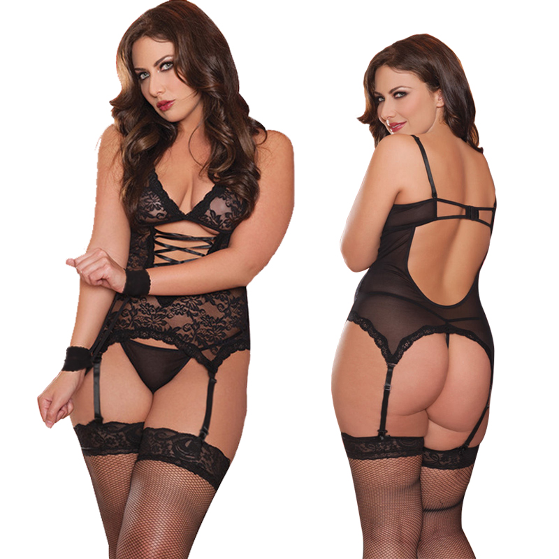 S M L XL XXL 3XL 4XL 5XL 6XL Erotic Underwear Women Plus Size Sexy Lingerie Hot Sex Babydolls Porno Costumes With Garter image