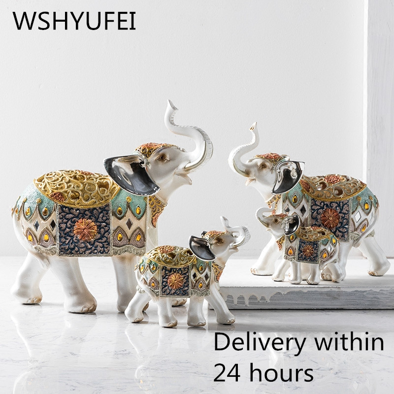 1pcs artificial resin elephant crafts mother and child decoration home living room European-style wedding decoration elephant