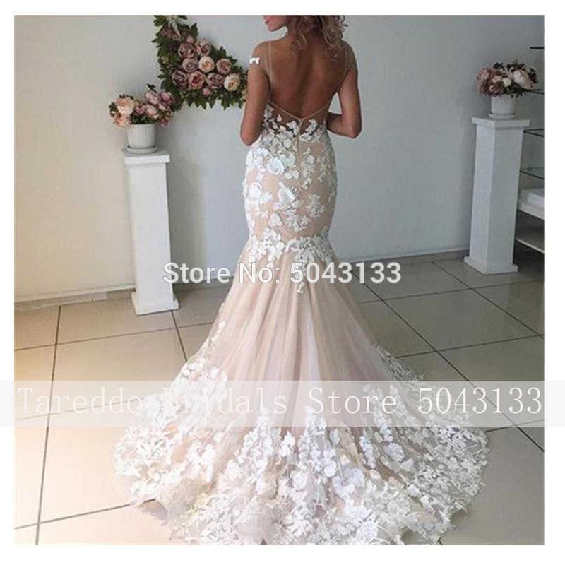 Champagne sirène robes de mariée 2021 dos ouvert Robe de mariée dentelle florale Applique nue Tulle cou manches courtes robes de mariée