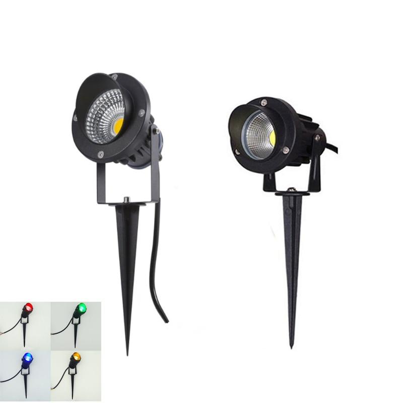 LED COB Garden Lighting 3W 5W 12W Outdoor Spike Lawn Lamp Waterproof Lighting Led Light Garden Path Spotlights AC220V DC12V