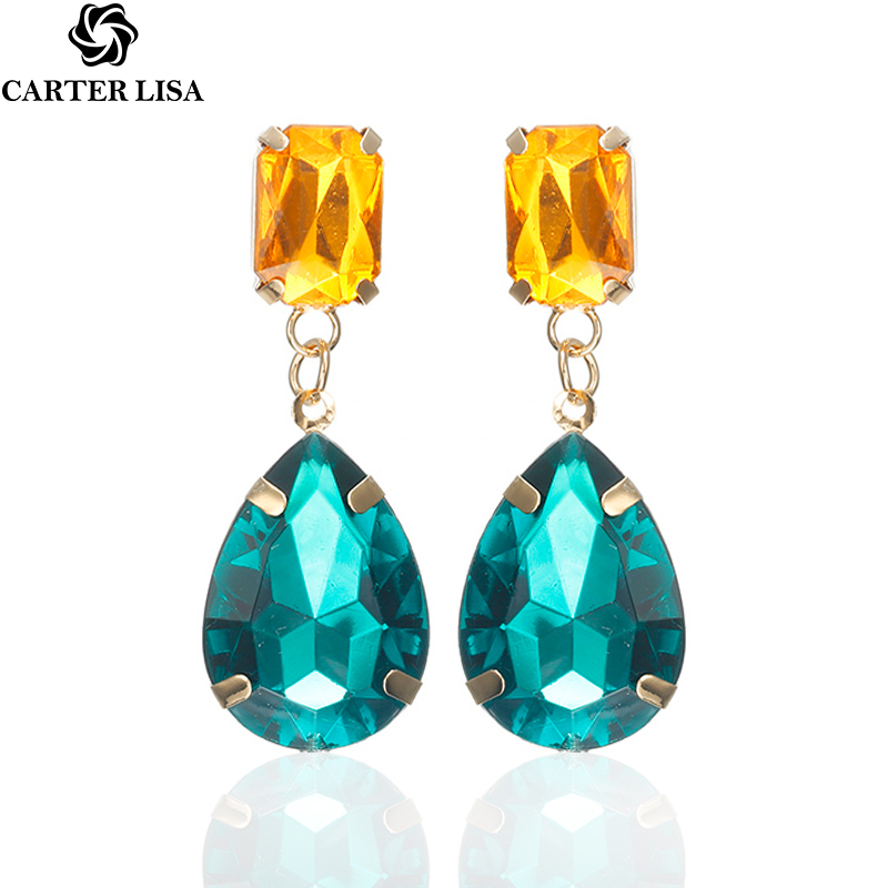 CARTER LISA Shiny Color Waterdrop Big Crystal Drop Earrings For Women  Dangle Earrings Squre Crystal Ear Jewelry HLEZ52000