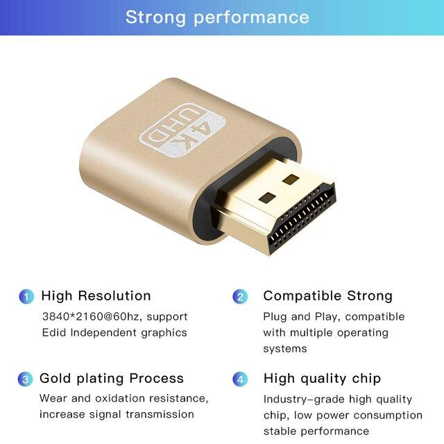 Kebidu HDMI 1.4 DDC EDID Dummy wtyczka adapter vga wirtualny adapter wyświetlacza bezgłowy duch wyświetlacz Emulator wideo zamek na kartę płyta