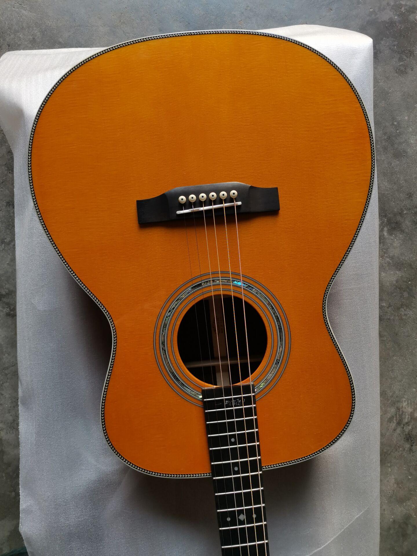 free shipping AAAA all solid cedar rosewood guitar OM body custom handmade solid OM acoustic guitar