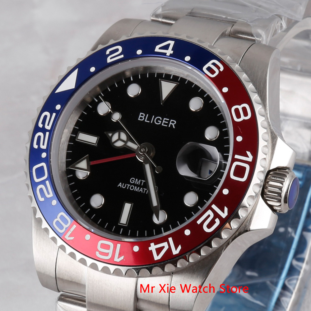 Bliger 40mm Automatic Mechanical Watch Men Luxury Sapphire Crystal Ceramic Bezel GMT Watch Luminous Waterproof Wristwatch Men