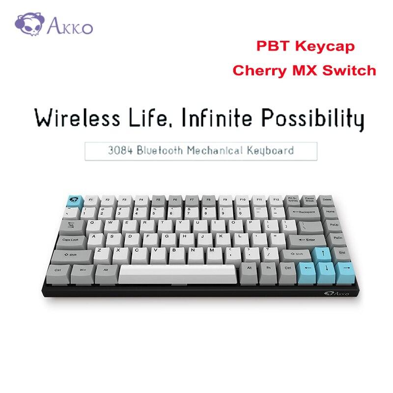 Оригинальный AKKO 3084 Бесшумная механическая клавиатура MX Беспроводная Bluetooth Проводная Двухрежимная клавишные колпачки из ПБТ вишневая игровая клавиатура 84Key 1800 мАч