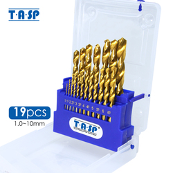TASP 19pcs Drill Bit for Metal & Wood HSS Drill Bits Set Titanium Coated with Storage Box Electric Tools Accessories