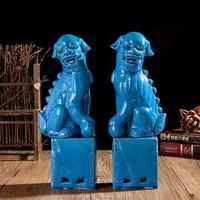 1 Pair Porcelain Foo Lion Foo Dogs Ceramic Figure Statue For Home Decor Decoration Sculpture