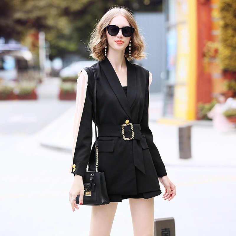 Runway Designer Trendy Chic Womens Blazer Belted Zwart Patchwork Metalen Gouden Knop Mode OL Dames Jas Jas Uitloper