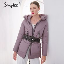 Coat Parka Pocket-Padded-Jacket Simplee Casual Women Winter Ladies Hooded Female Cotton