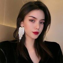 Orecchini pendenti in cristallo con nappine lunghe a cuore FYUAN per donna orecchini pendenti con strass pieni accessori per gioielli per matrimoni