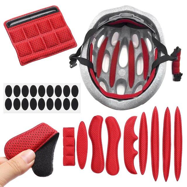 27 pçs universal capacete interno almofadas de espuma estofamento kit selado esponja vermelha para esportes ao ar livre ciclismo acessórios da motocicleta bicicleta 1