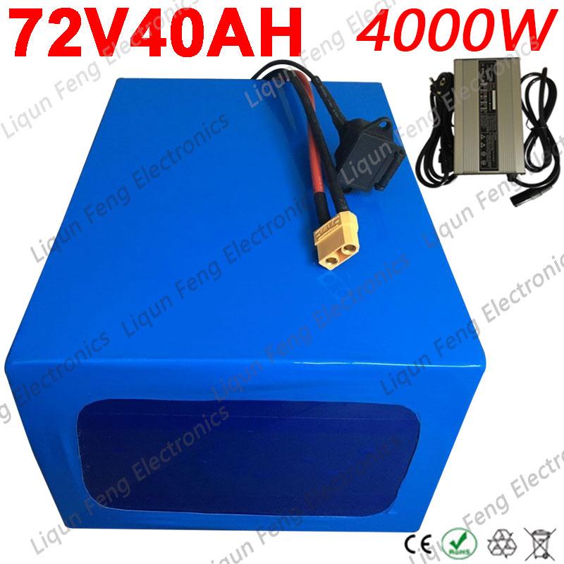 72V Ebike batería 72V 4000W 3000W 2000W eléctrico batería de Scooter 72V 20AH 25AH 30AH 35AH 40AH batería de litio + 5A cargador