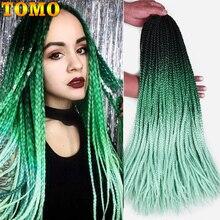 TOMO цветная коробка Косы с крючком 24 дюйма Омбре синтетические косички для наращивания волос 22 корня радужные вязаные крючком волосы африканские косички
