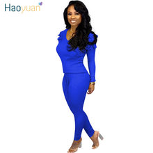 HAOYUAN Plus Size Knit Two Piece Set Women Clothes Tracksuit Fall Winter Outfits Long Sleeve Top and Pant 2 Piece Matching Suits(China)