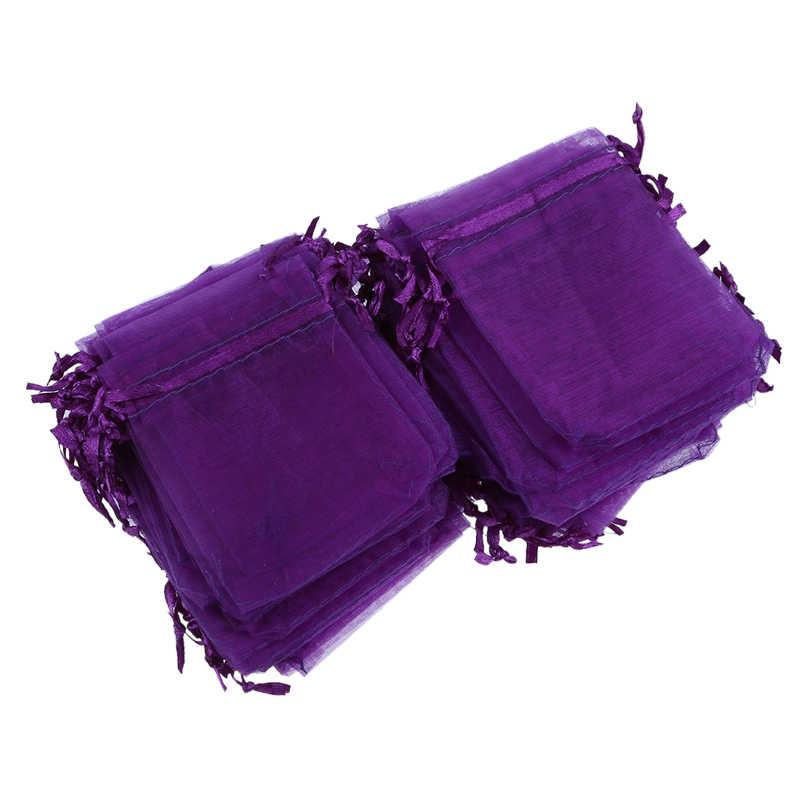 100 из темно-фиолетовой органзы, свадебные конфетные сумки, ювелирные сумки из органзы 7 см x 9 см
