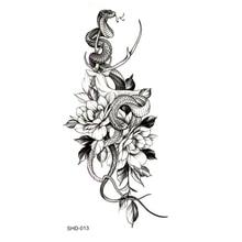 Three styles Grey Flower/bird/ghost Women/snake Waterproof Temporary Tattoos Men Temporary Tatoo Sticker Fake Tattoo Sleeves